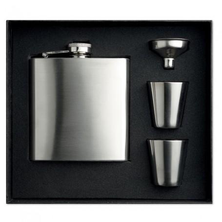 SLIMMY FLASK SET - Slim hip flask w 2 cups set