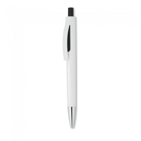 LUCERNE WHITE - Push button pen with white bar