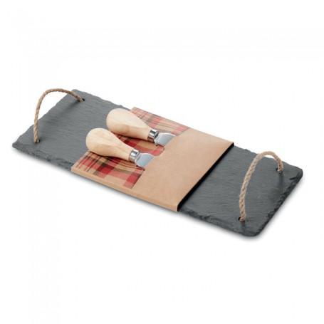 RIMINI - Slate cheeseboard with 2 knive