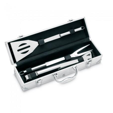 ASADOR - 3 BBQ tools in aluminium case