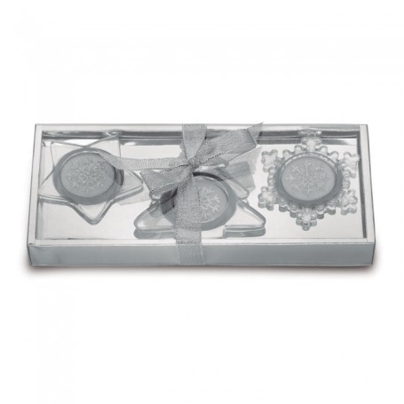 GLASSIO - Set of 3 glass candle holders