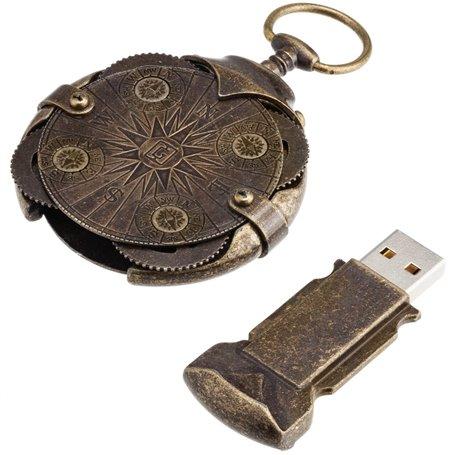 Kompaso formos antikinio aukso spalvos USB atmintinė su užraktu 16 Gb
