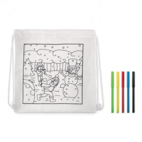 PAINT&GO - Drawstring bag with markers